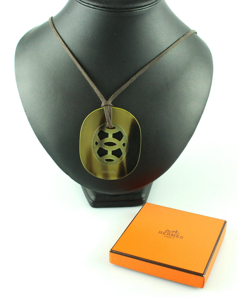 Hermes Lift Buffalo Horn Pendant On Rope