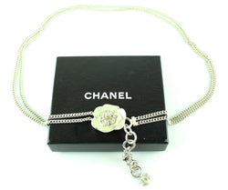 Chanel Silvertone And Floral 2004P Mint Opaque Camelia Belt
