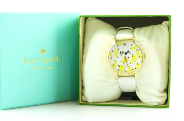 Kate Spade 'That's Bananas' White Metro Watch