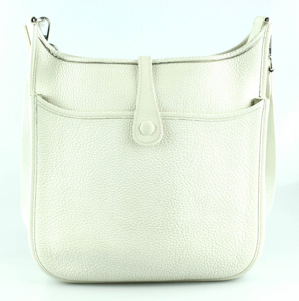 Hermes Evelyne II PM Blanc Clemence Leather 2005 Silver Hardware