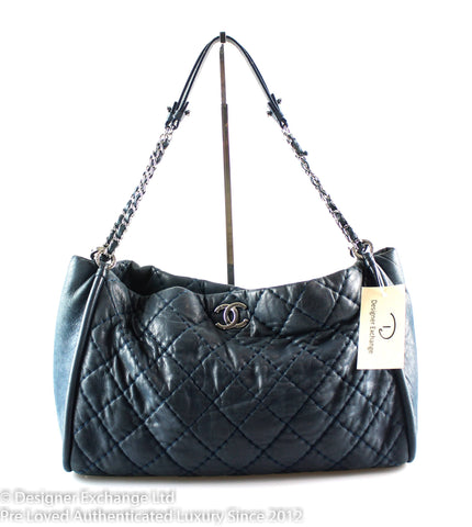 Chanel Iridescent Sea Hit Navy Calfskin Shoulder Bag SH 16584904