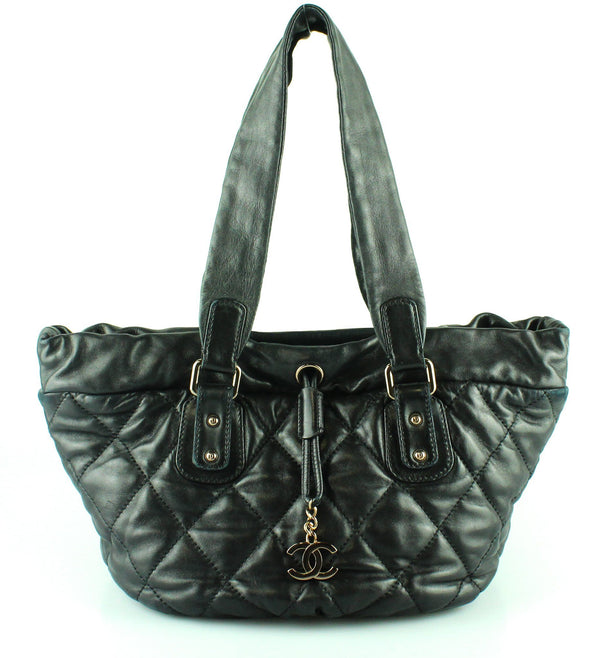 Chanel 2005/06 Black Lambskin Leather Quilted Tote