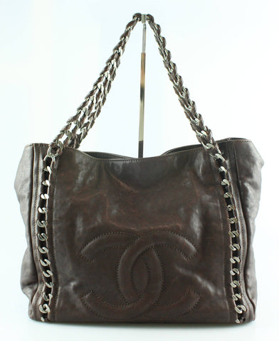Chanel Brown Distressed Leather Modern Chain Tote GMH