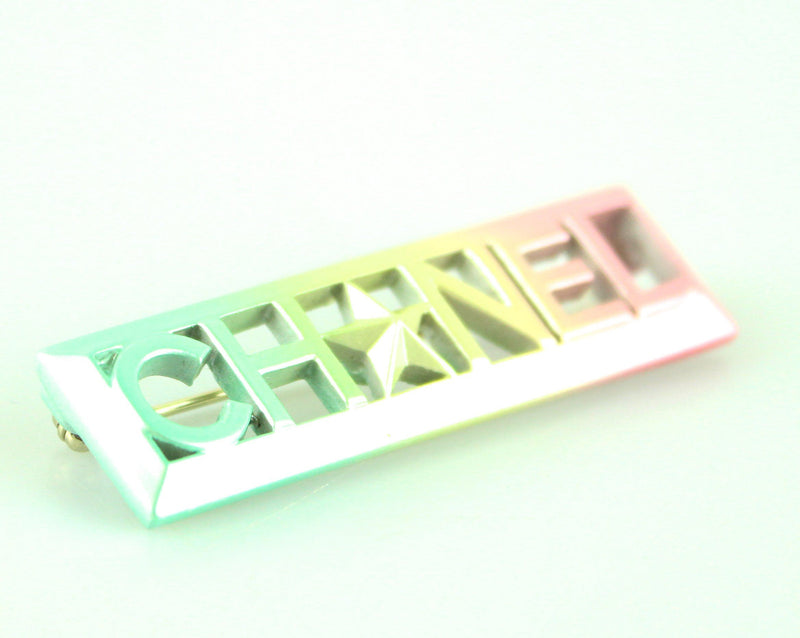 Chanel Multicolour Logo Bar Brooch 17A