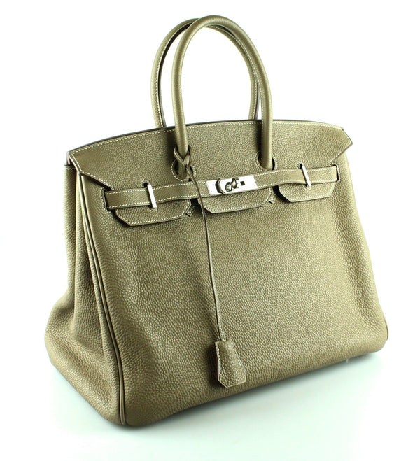 Hermes Birkin 35cm Etoupe Togo Leather Palladium Hardware 2009