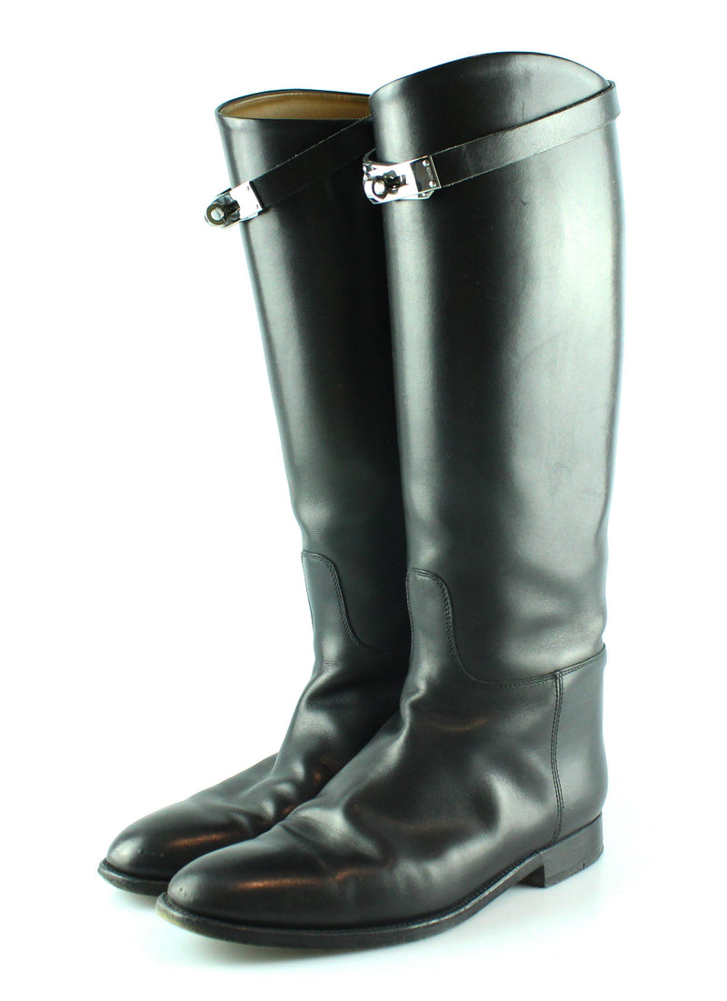 Hermes Jumping Boots Box Calfskin Kelly Strap EUR 39 UK 6