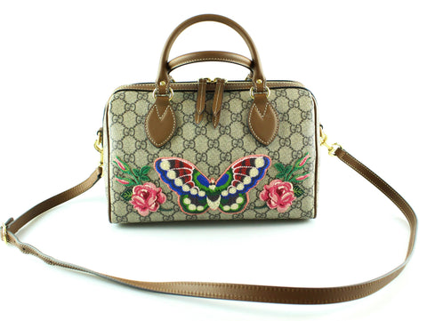Gucci Canvas/Leather GG Butterfly Boston Bag