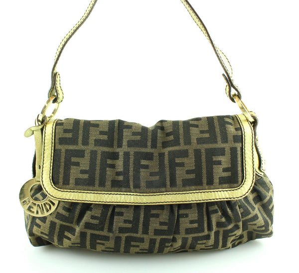 Fendi Zucca Chef Flap With Gold Leather Trim