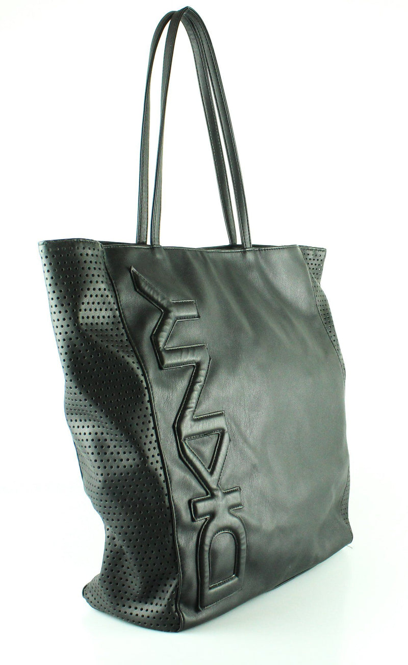 DKNY Black Faux Leather Logo Perforated Tote