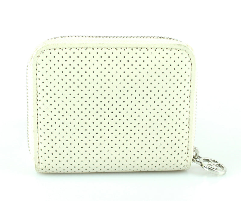 Michael Kors Perforated Beige Compact Zip Wallet SH