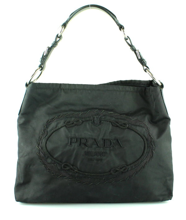 Prada Nylon Black Logo Hobo