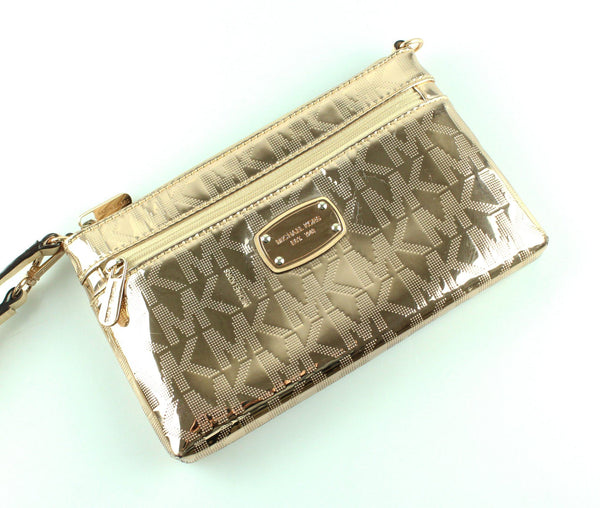 Michael Kors Rose Gold Metallic Monogram Wristlet