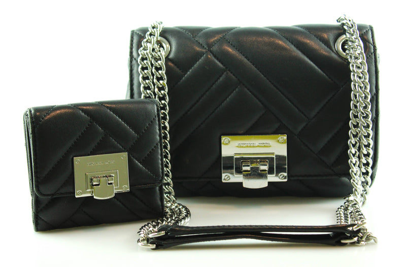 Michael Kors Black Vivianne Chain 2 Way Shoulder Bag With Matching Wallet