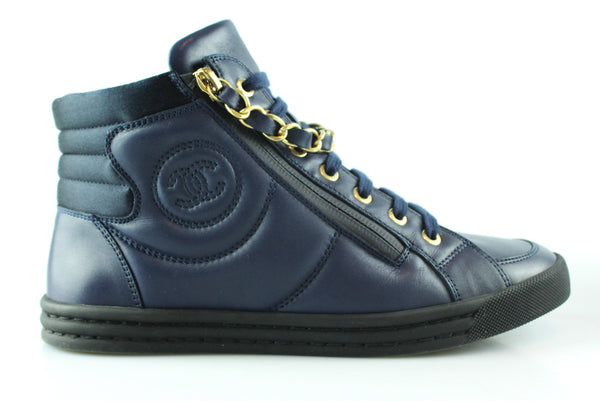 Chanel Navy 2016 High Top Chain Sneakers EUR 37 UK 4