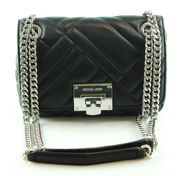 390ae1a0a237 Michael Kors Black Vivianne Chain 2 Way Shoulder Bag With Matching Wallet