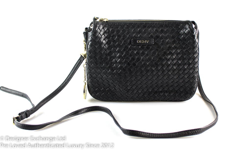 DKNY Black Woven Leather Crossbody GH