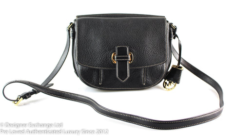 Michael Kors Romy Black Saddle Crossbody