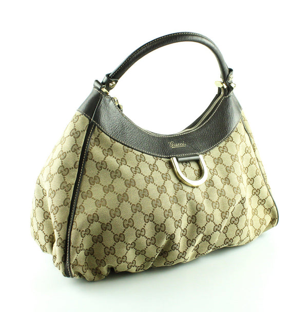 Gucci D Ring Shoulder Hobo GG Brown Leather Trim