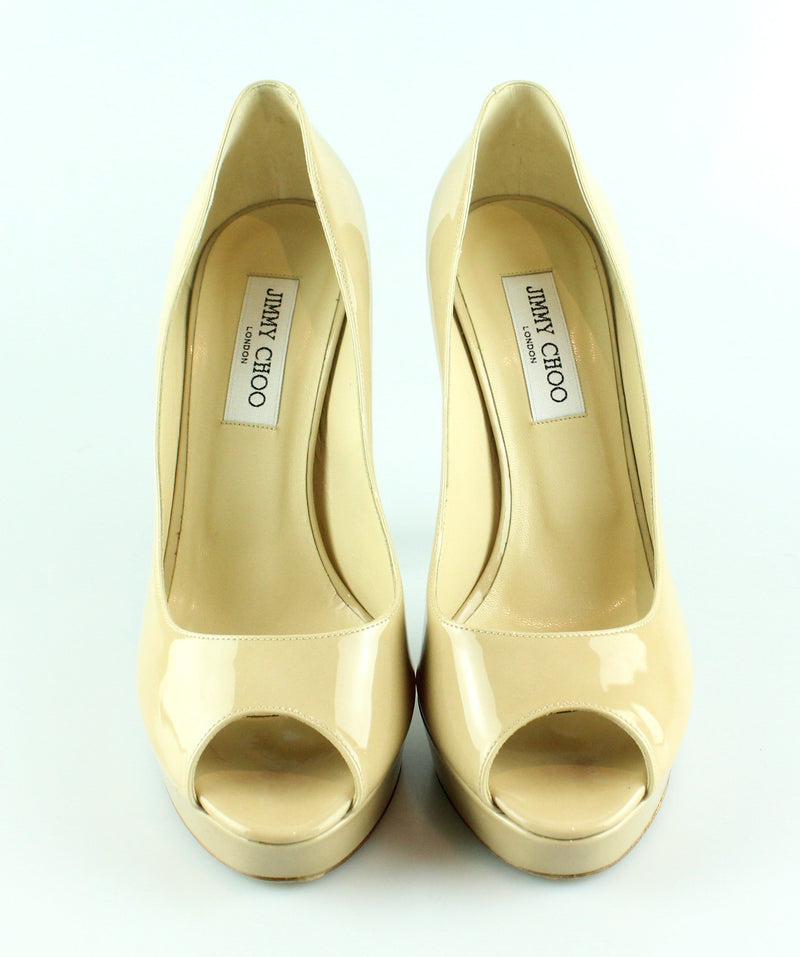 Jimmy Choo Patent Leather Nude Crown Peep Toe Heels EUR 40 UK 7