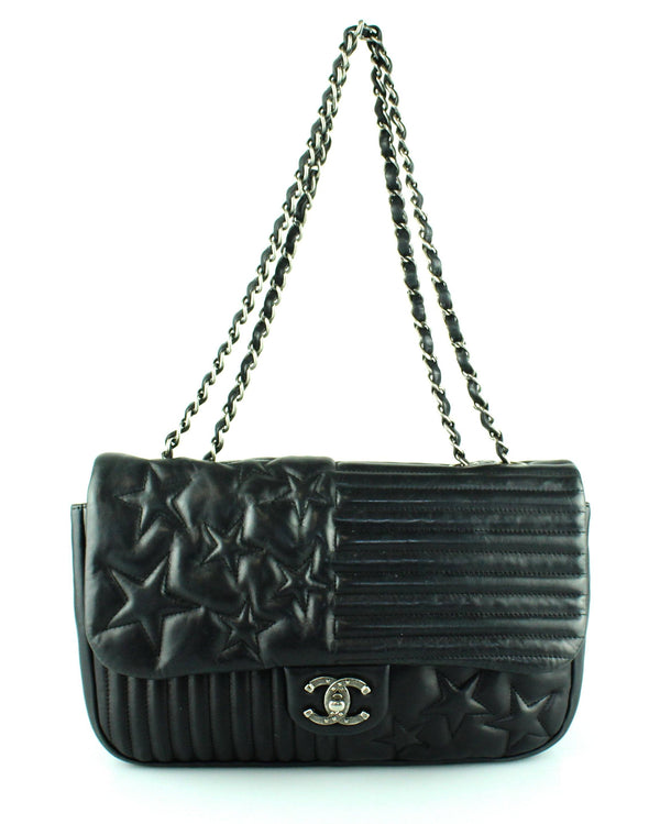 Chanel Ltd Edition Stars And Stripes Black Lambskin Flap Bag 2014