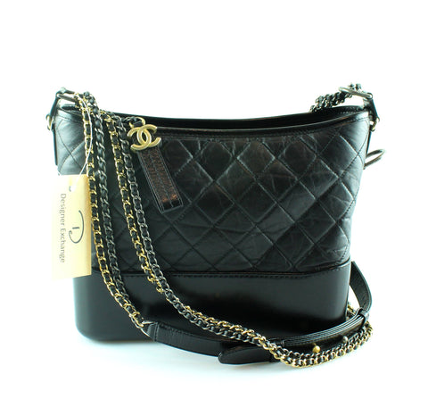 Chanel Gabrielle Large Hobo Black Aged Calfskin Gold/Silver/Ruthenium
