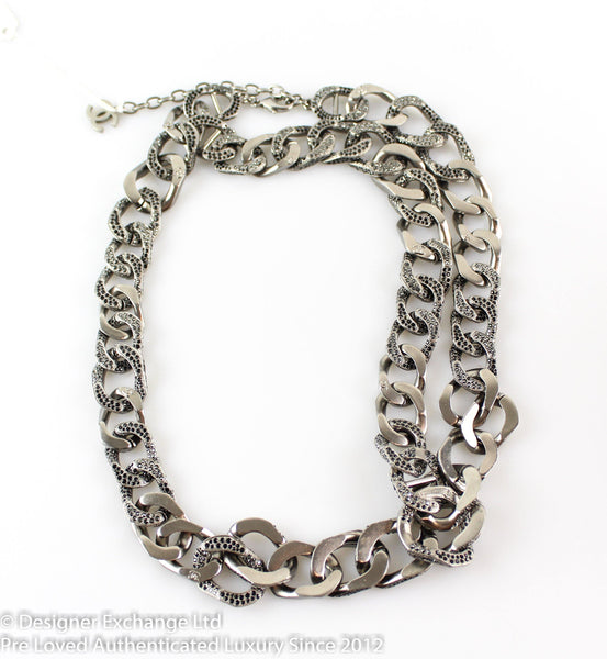 Chanel Gunmetal And Faux Onyx Stone Chain Asymmetric  Necklace