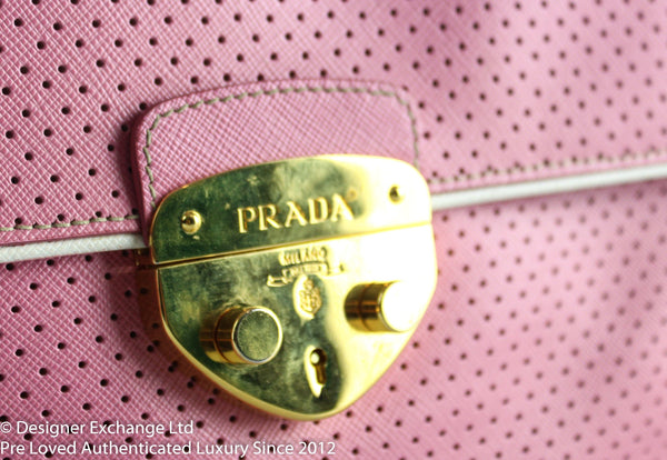 Prada Pink Perforated Saffiano Leather Shoulder Bag