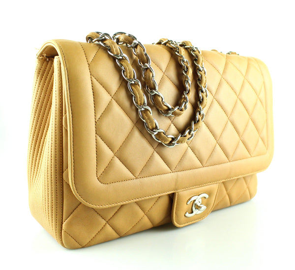 Chanel Seasonal Beige Jumbo Lambskin Flap 2010
