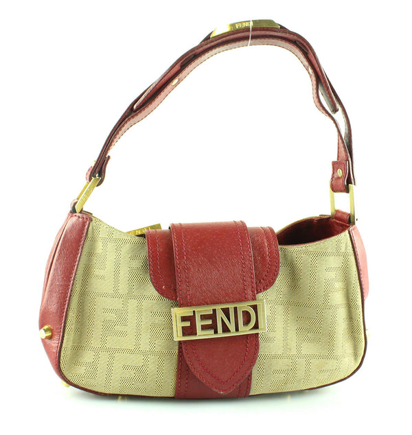 Fendi Vintage Baguette Canvas/Leather Red Trim