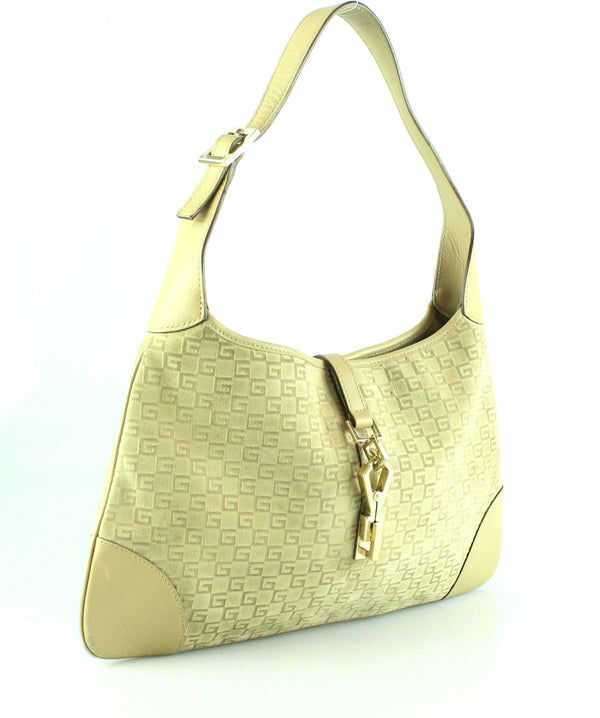 Gucci Suede Beige G Line Jackie Small Hobo