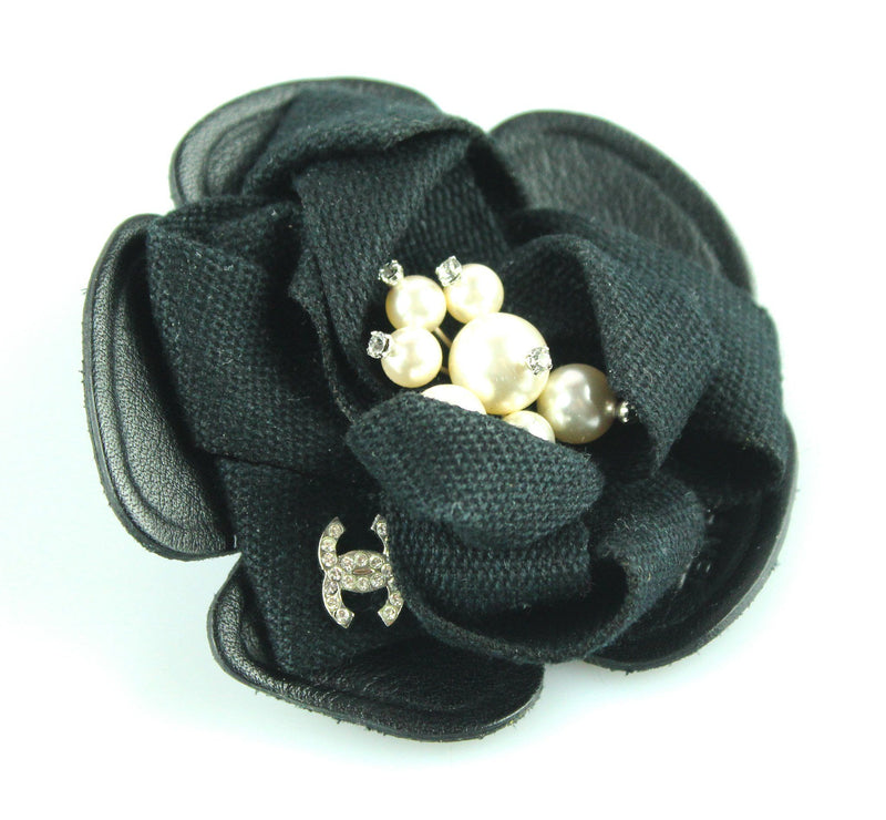 Chanel Black Camelia Leather Diamante CC And Pearl Brooch