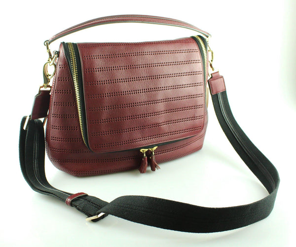 Anya Hindmarch Perforated Oxblood Maxi Zip Satchel