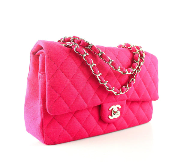 Chanel Medium Classic Flap Fuschia Jersey SH 2009