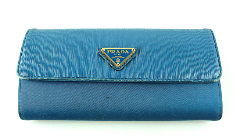 Prada Blue Nylon And Textured Leather Wallet Long