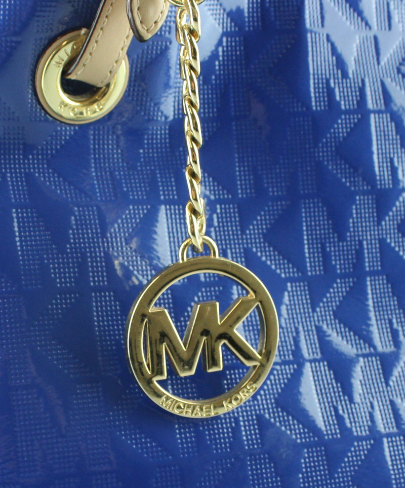 Michael Kors Blue Monogram Jet Set tote