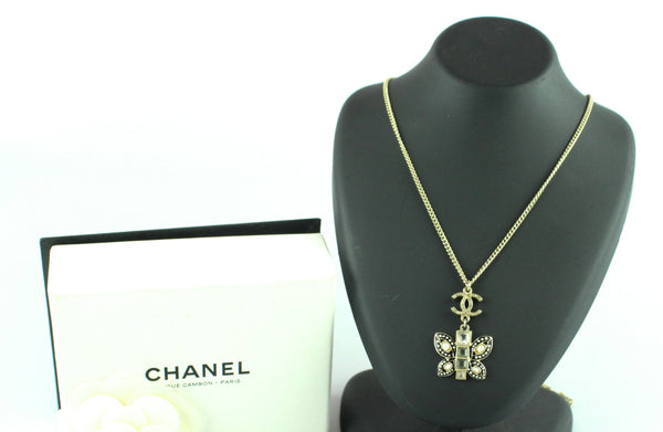Chanel 2018 Gold Tone Butterfly CC Pendant Necklace