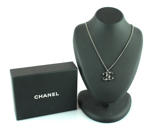Chanel 2016 Gun Metal CC Diamante Pendant Necklace