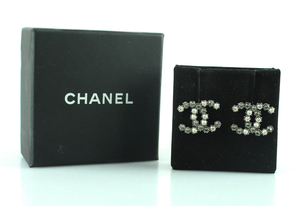 Chanel 2015 Silver Diamante CC Studs