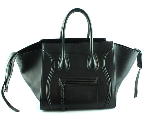 Celine Black Leather Phantom Tote