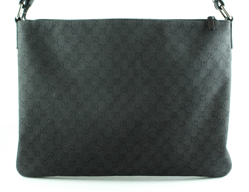 Gucci Mens Grey/Black GG Large Folio Messenger