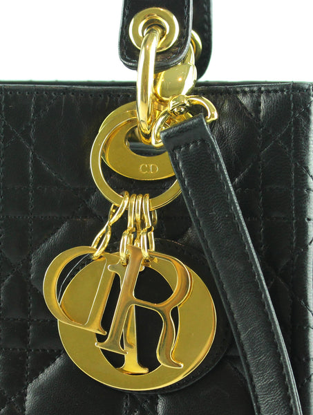 Christian Dior Lady Dior Lambskin Black GH 1998 With Strap