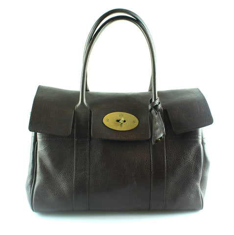 Mulberry Chocolate Brown Bayswater NVT Brass