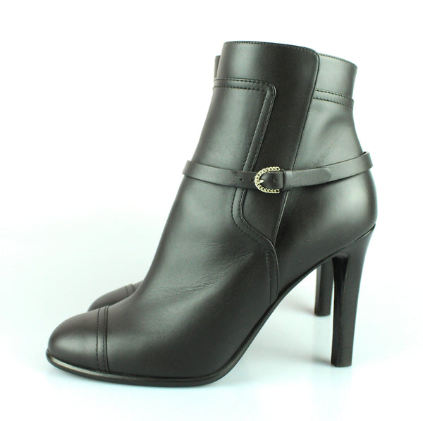 Chanel Black Calf Leather Strap Booties EUR 39.5 UK 6.5