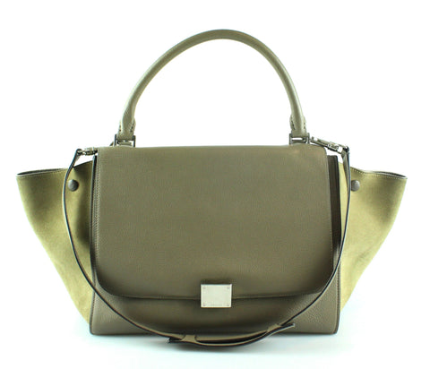 Celine Medium Trapeze Olive Green Suede/Grained leather