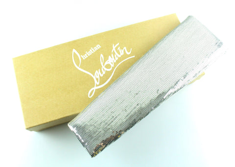 Christian Louboutin Grey Sequin Newspaper Clutch