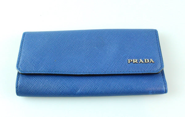 Prada Saffiano Blue 5 Key Wallet
