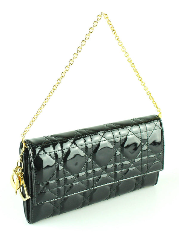 Christian Dior Black Calfskin Patent wallet With Chain