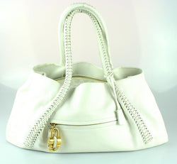 Salvatore Ferragamo White Woven Handle Shoulder Bag FG21A006