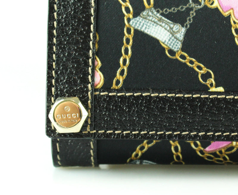 Gucci Satin and Leather Charms Long Flap Wallet