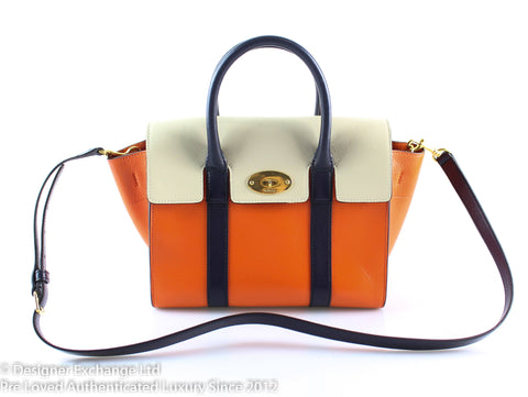 Mulberry Small Bayswater Multicolour Midnight Blue Orange And Chalk Smooth Calf Leather